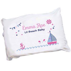 Personalized Childrens Pillowcase with Pink Sailboat design