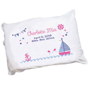 Personalized Girl's Sailboat Pillowcase