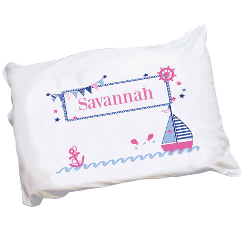 Personalized Girls Pink Navy Sailboat Pillowcase