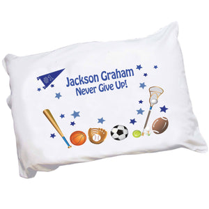 Personalized Childrens Pillowcase with Sports design