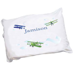 Personalized Childrens Pillowcase with Airplane design