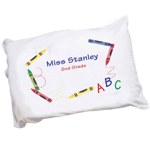 Personalized Childrens Pillowcase with Crayon design