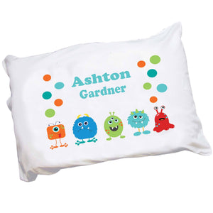 Personalized Childrens Pillowcase with Monster Mash design