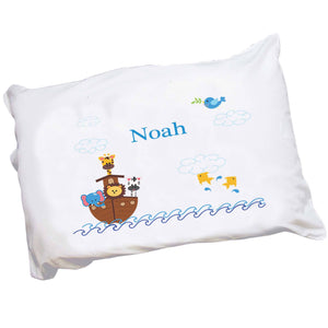Personalized Childrens Pillowcase with Noahs Ark design