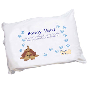 Personalized Blue Puppy Dog Pillowcase