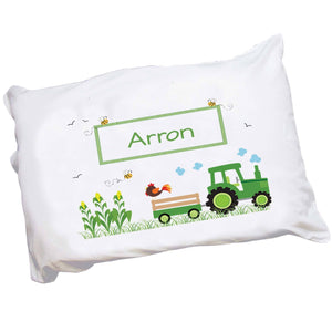 Personalized Childrens Pillowcase with Green Tractor design
