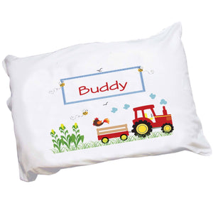 Personalized Childrens Pillowcase with Red Tractor design
