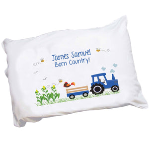 Personalized Girls Blue Tractor Pillowcase