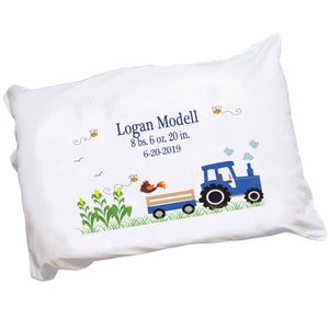 Personalized Blue Tractor Pillowcase