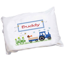 Personalized Childrens Pillowcase with Blue Tractor design