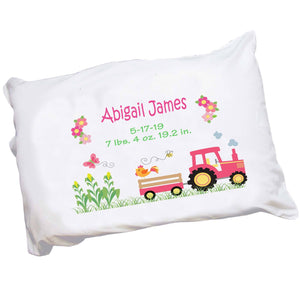 Personalized Pink Tractor Pillowcase