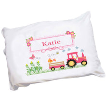 Personalized Girls Pink Tractor Pillowcase