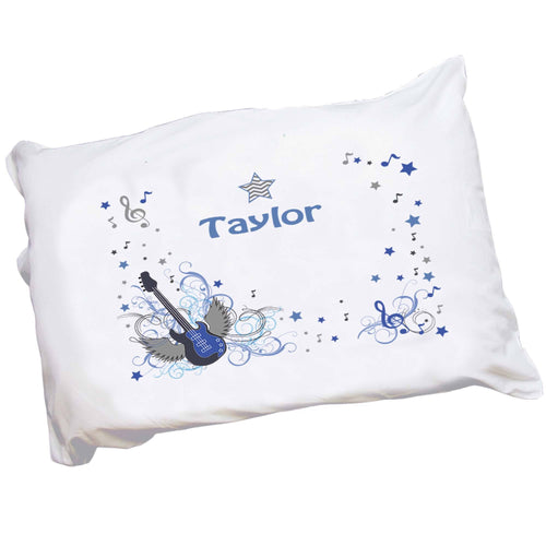 Personalized Childrens Pillowcase with Blue Rock Star design
