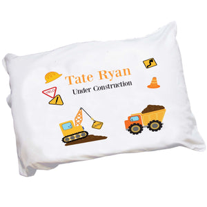 Personalized Childrens Pillowcase with Construction design