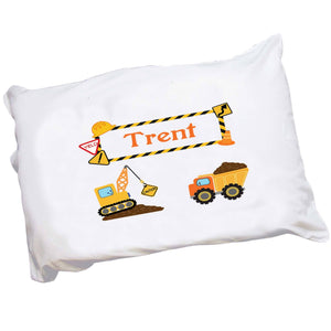 Personalized Childrens Construction Vehicles Pillowcase