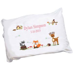 Personalized Childrens Pillowcase with Green Forest Animal design