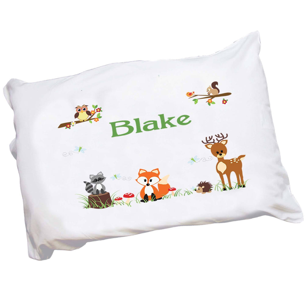 Personalized Childrens Forest Animals Pillowcase
