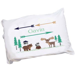 Personalized Childrens Pillowcase with North Woodland Critters design