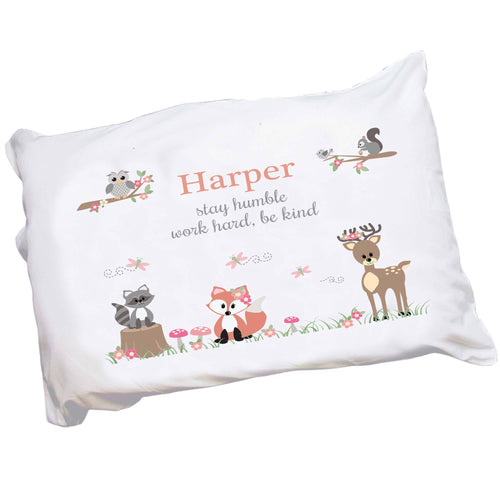 Personalized Childrens Pillowcase with Gray Woodland Critters design