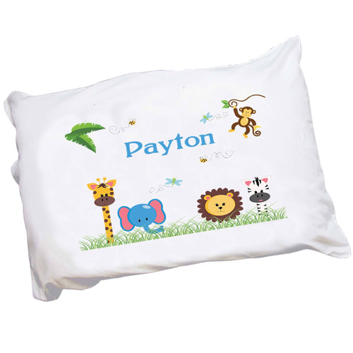 Personalized Childrens Jungle Animal Pillowcase