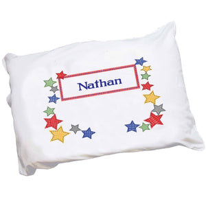 Personalized Childrens Pillowcase with Stitched Stars design