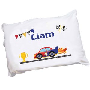 Personalized Childrens Pillowcase with Race Cars design