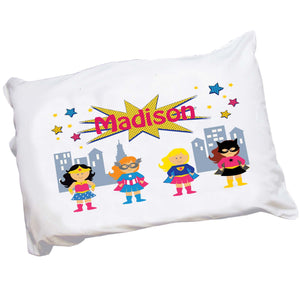 Personalized Girls Superhero Pillowcase