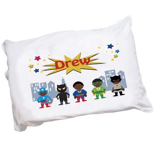 Personalized African American Super hero Boy Pillowcase