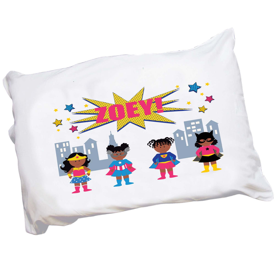 Personalized African American Superhero Girl Pillowcase