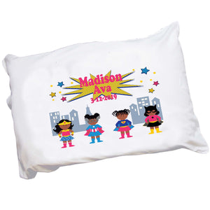 Girl's African American Superhero Pillowcase