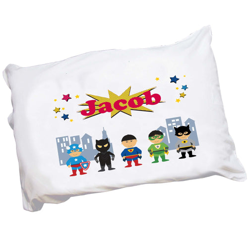 Personalized Asian Boy Superhero Pillowcase