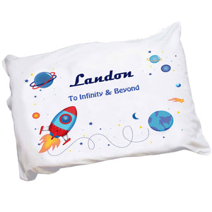 Personalized Childrens Pillowcase with Rocket design