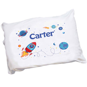 Personalized Boys Rocket and Planet Pillowcase