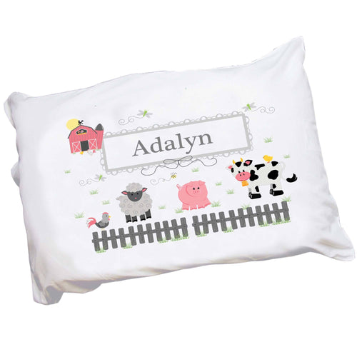 Personalized Childrens Pillowcase with Barnyard Friends Pastel design