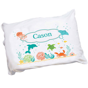 Personalized Childrens Pillowcase with Sealife animals design