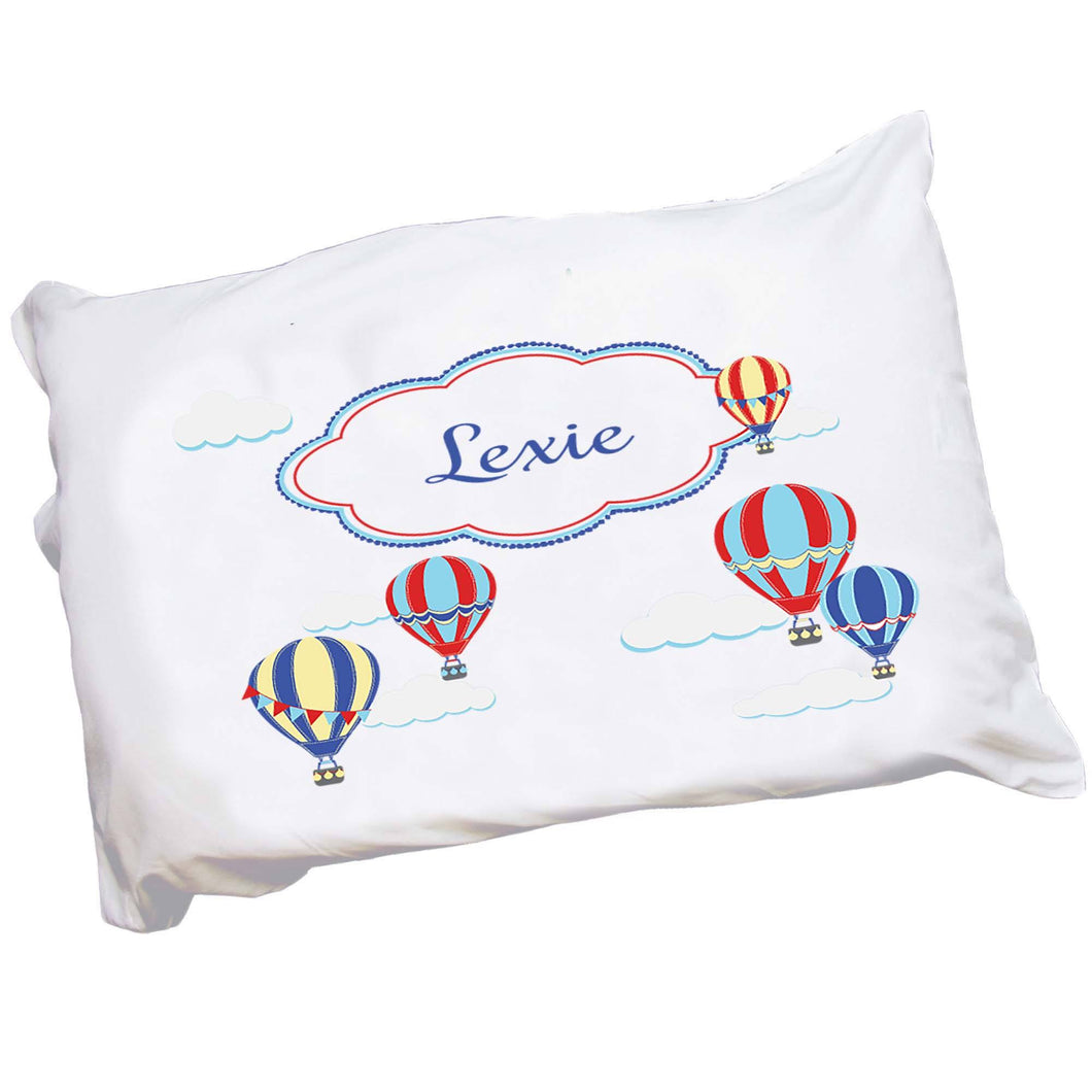 Personalized Childrens Pillowcase with Hot Air Balloon Primary design