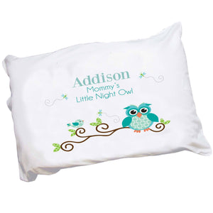 Personalized Gingham Owl Pillowcase