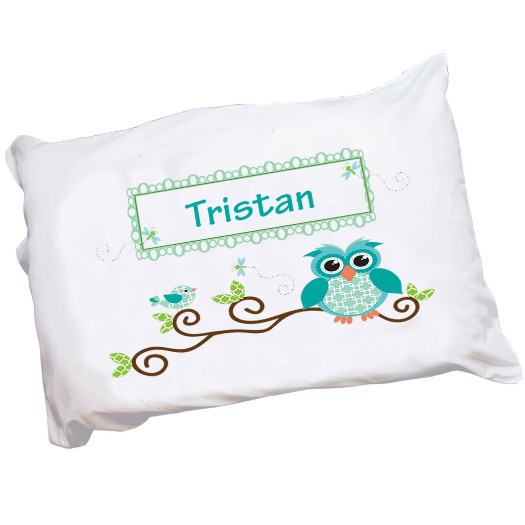 Personalized Blue Owls Childrens Pillowcase