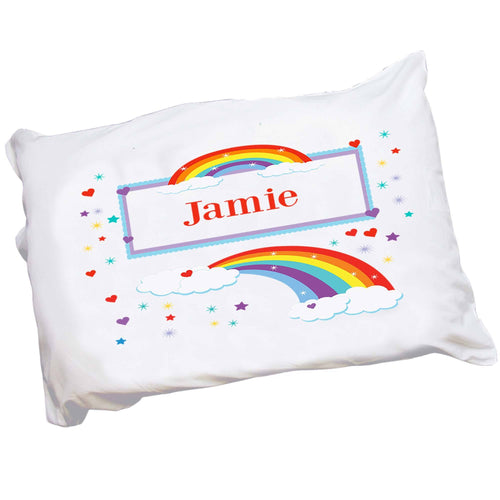 Personalized Childrens Pillowcase with Rainbow design