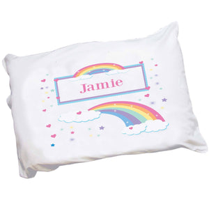 Personalized Girls Pastel Pink Rainbow Pillowcase