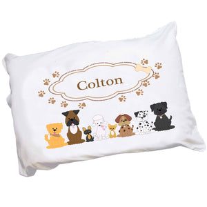 Personalized Childrens Pillowcase with Brown Dogs design