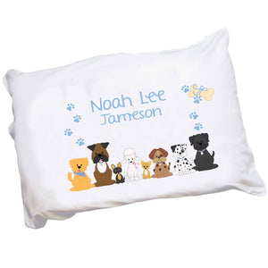 Personalized Childrens Pillowcase with Blue Dogs design