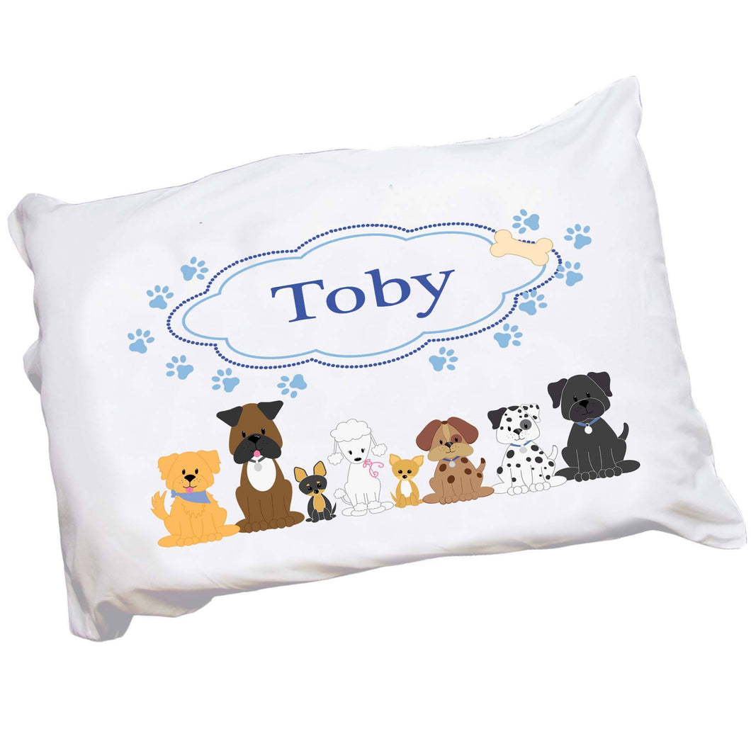 Personalized Puppy Dog Pillowcase with Blue Dogs design