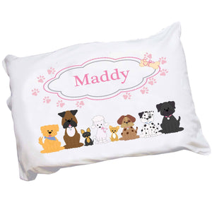 Personalized Pink Dog Bed Pillowcase