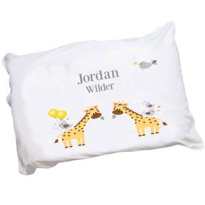 Personalized Childrens Pillowcase with Giraffe design