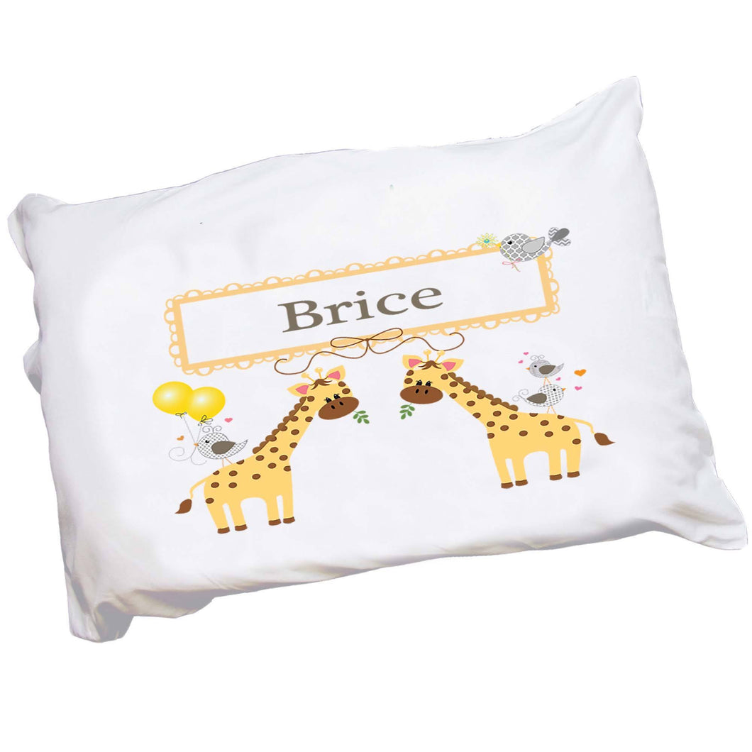 Personalized Childs Giraffe Pillowcase