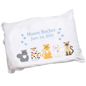 Personalized Childrens Pillowcase with Blue Cats design