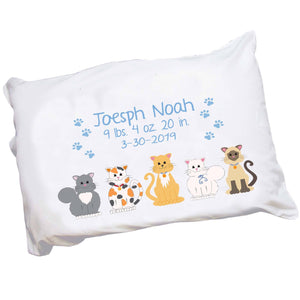 Personalized Blue Cats Pillowcase