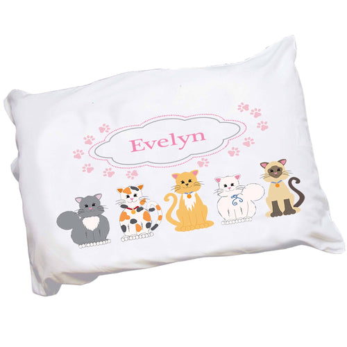 Personalized Childrens Pillowcase with Pink Cats design