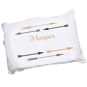 Personalized Childrens Pillowcase with Arrows Gold and Grey design